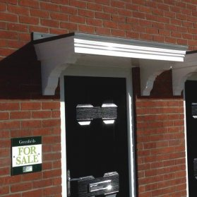 The Dunster Flat Smooth GRP Over Door Canopy with Fully Moulded Brackets Attached